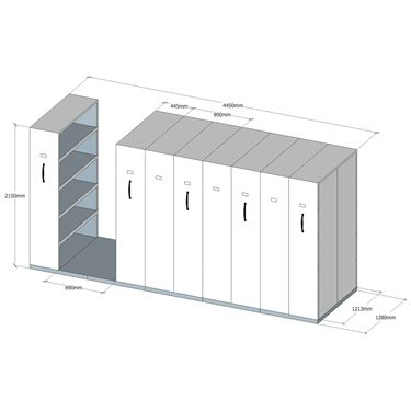 Quick Mobile Shelving - 8 Bay