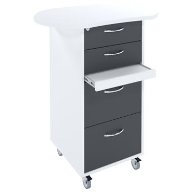 Sterling Satellite Teachers Caddy with Shaped Top - 2 Drawers + 2 File Drawers