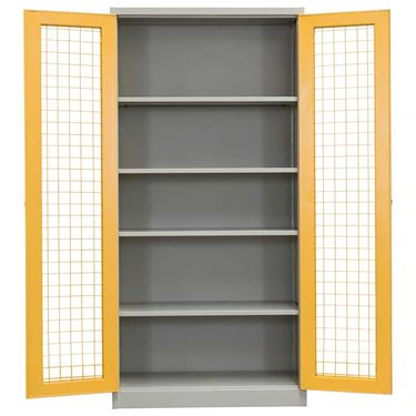 Industrial Foldable 2 Door Mesh Security Metal Cupboard 1830H x 900W x 450D