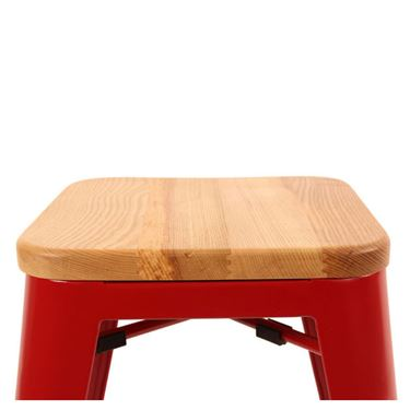 """Rex Range"" Small Replica Tolix Stool with Timber Seat"