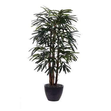 Rhapis Palm Simulated Plant in Black Pot