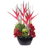 Red and Black Simulated Floral Arrangement